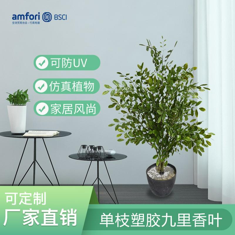 22寸仿真植物单枝5头塑胶九里香叶盆栽