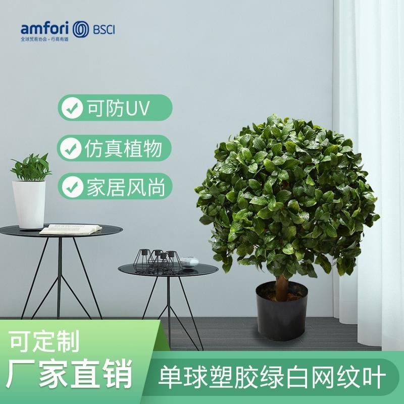 24寸单球真树杆双绿塑胶网纹叶盆栽