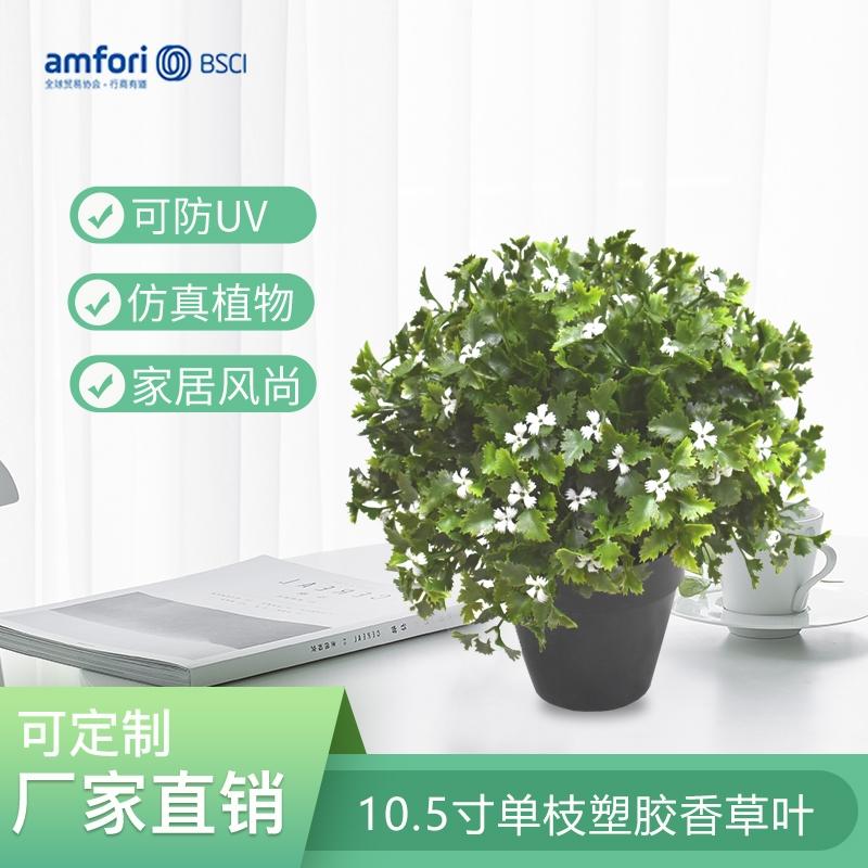 10.5寸单枝塑胶香草叶仿真植物
