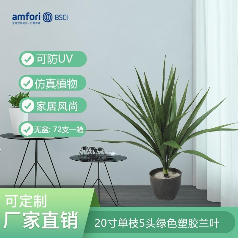 20寸单枝5头绿色塑胶兰叶
